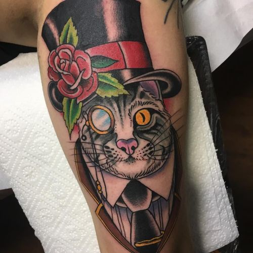Top Hat cat tattoo by Klem Diglio #KlemDiglio #petportraittattoo #color #newtraditional #pet #cat #kitty #tophat #rose #hat #tie #monocle #dapper #style #animal #nature #flower #leaves #tattoooftheday