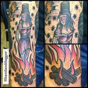 Burning Witch Tattoo by Jenna Hayes #witch #witchtattoo #burningwitch #burningwitchtattoo #witchhunt #witchhunttattoo #horrortattoo #JennaHayes