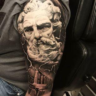 A godly depiction of Zeus above Grecian ruins by Nathan Hebert (IG—nathanhebert). #blackandgrey #NathanHebert #realism #Zeus