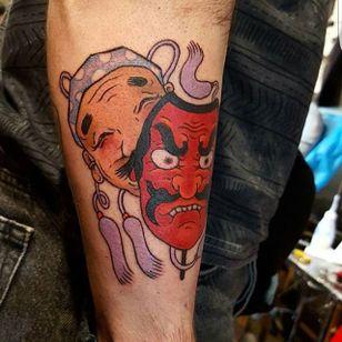 Hyottoko and Tengu Tattoo by Jan Willem #hyottoko #tengu #japanese #traditionaljapanese #irezumi #JanWillem