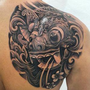 Black and grey barong mask back piece by Pa'udy Bali. #blackandgrey #balinese #indonesian #Pa'udyBali #barong #barongmask