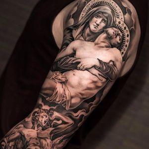 PIeta by Noah Minuskin #NoahMinuskin #blackandgrey #realism #realistic #virginmary #Jesus #religious #clouds #pieta #stainedglass #sculpture #Christian #tattoooftheday