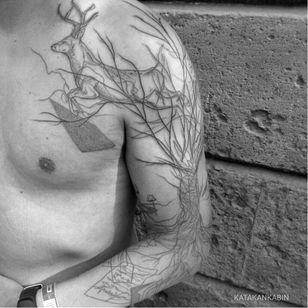 Tree and stag tattoo by Katakankabin #Katakankabin #linework #sketch #abstract #stag #tree