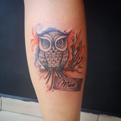 #ThiagoPinhas #tatuadoresdobrasil #traçofino #fineline #coruja #owl #aquarela #watercolor #colorida #colorful