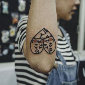 Baby heart tattoo by Woohyun Heo #WoohyunHeo #babies #baby #love #heart (Photo: Instagram)