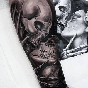 OG Abel tattoo by Benji Roketlauncha #OGAbel #art #chicano #blackandgrey #BenjiRoketlauncha #skull #caterina #diadelosmuertos #kiss