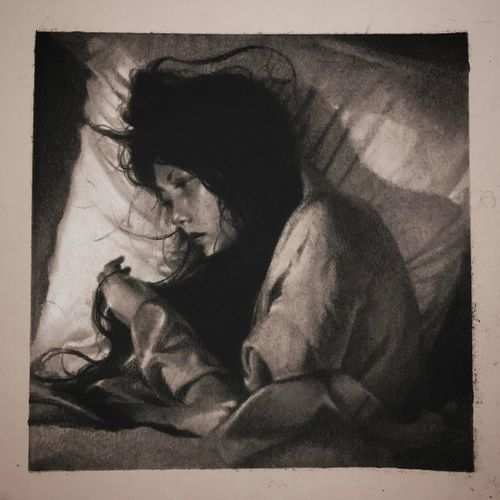 Illustration by Cold Gray #ColdGray #illustration #blackandgrey #realism #realistic #hyperrealism #photorealism #girl #lady #sleeping #hair #hands #portrait
