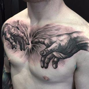 Black and grey Michelangelo hands tattoo by Benjamin Laukis #BenjaminLaukis #michelangelohands #michelangelo #sistinechapel #creationofadam #adam #god #hands #fineart #painting #art #blackandgrey