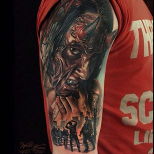 Evil tattoo by Sergey Shanko #SergeyShanko #realistic #photorealistic #portrait #devil