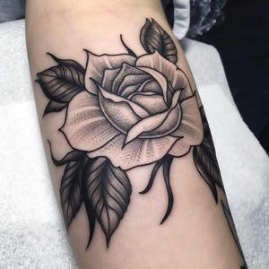 Rose tattoo by Matt Stopps #MattStopps #monochrome #rose