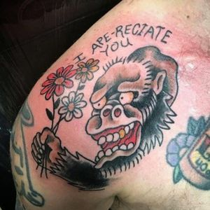I Ape-reciate You tattoo by Dick Verdammt #dickverdammt #funnytattoos #traditional #color #flowers #daisy #ape #text #cute #monkey #animal