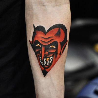 Devil by David Peyote #DavidPeyote #color #devil #tattoooftheday