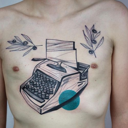 Typewriter tattoo by Peter Aurisch #PeterAurisch #illustrativetattoos #illustrative #drawing #linework #abstract #typewriter #writer #leaves #floral #berries #shape #color