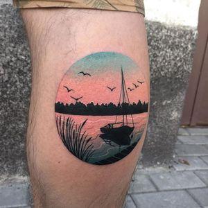 Yacht by the dock tattoo by Daria Stahp. #DariaStahp #yacht #sunset #lake #silhouette #stunning #sky