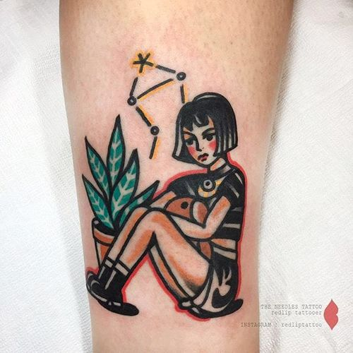 Leon: The Professional tattoo by Redlip Tattooer. #RedlipTattooer #Redlip #traditional #bold #leontheprofessional #film #mathilda