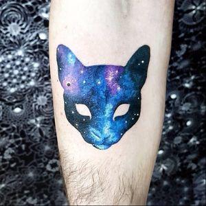 Cosmic cat tattoo by Pablo Diaz Gordoa #PabloDiazGordoa #graphic #watercolor #cosmic #space #cat