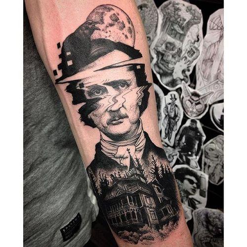 Glitch Edgar Allan Poe tattoo by Max Amos. #MaxAmos #blackwork #glitch #pointillism #dotwork #edgarallanpoe