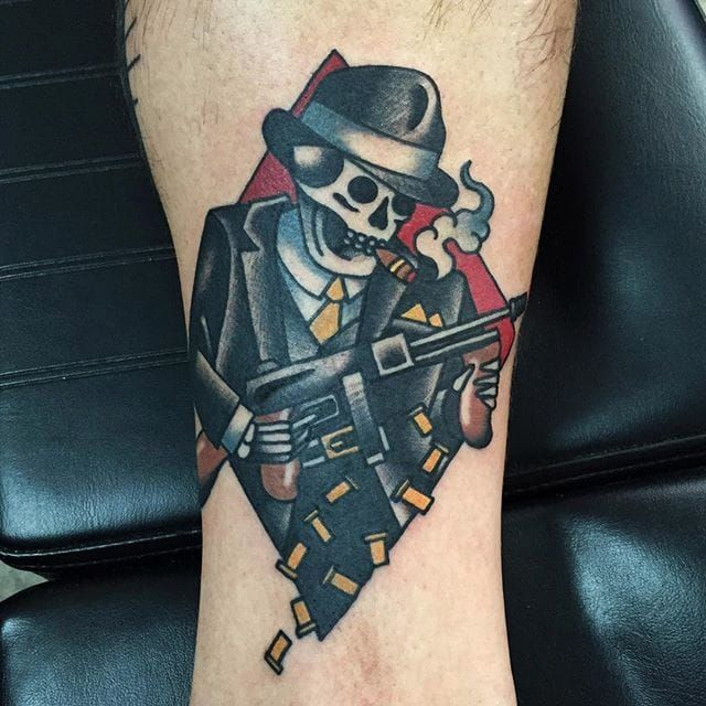 Gangster skeleton via @adamtruarn #adamtruarn #traditional #bold #traditionaltattoo