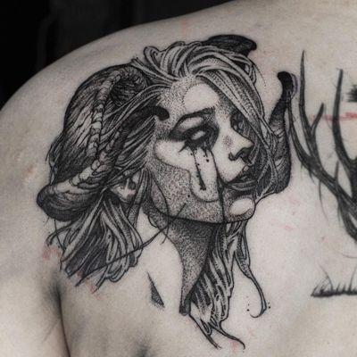 Demon girl tattoo by Gghost #Gghost #demontattoos #blackandgrey #linework #illustrative #darkart #horror #demon #ladyhead #horns #possessed #devil #hell #tears