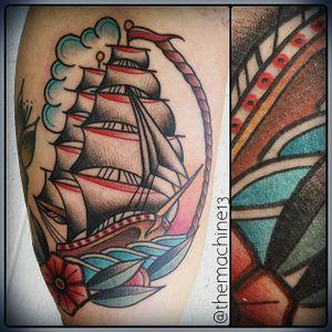 Ship Tattoo by Zack Taylor #Ship #TraditionalTattoos #TraditionalTattoo #OldSchool #OldSchoolTattoos #Traditional #ZackTaylor
