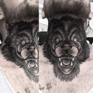 Traditional wolf black and grey throat piece by Whitney Havok. #traditional #blackandgrey #animal #wolf #WhitneyHavok