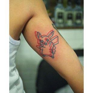 Pikachu anaglyph tattoo by Marcus Yuen. #MarcusYuen #anaglyph #cartoon #3d #popculture #pikachu #pokemon #anime #videogames