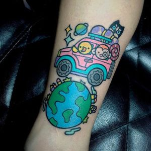 Around the world cartoon style tattoo by Pikkapimingchen. #Pikkapimingchen #cartoon #cute #graphic #world #travel #earth