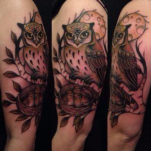 Cute owl family tattoo by Hilary Jane Petersen #HilaryJanePetersen #nature #neotraditional #owl #babyowl #nest