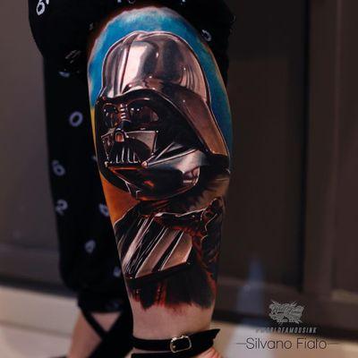 Star Wars tattoo by Silvano Fiato #silvanofiato #movietattoos #darthvader #realism #realistic #hyperrealism #film #StarWars #portrait #villain #color #forcechoke #deathstar #scifi #space #galaxy #tattoooftheday