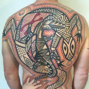 Back Tattoo by Tatu Lu #aboriginal #aboriginalart #australian #australianartist #culturalart #TatuLu