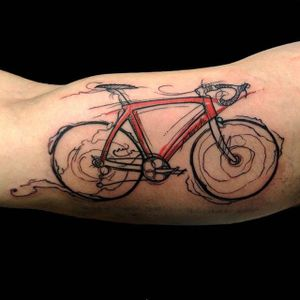 Bike tattoo by barbas82 on Instagram. #bike #fixie #biker #cyclist #biking #sport #semiabstract