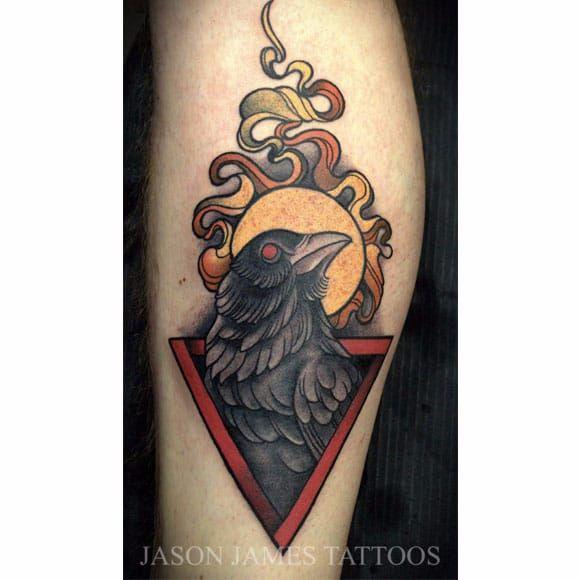 Por Jason James! #JasonJames #Corvo #Crown #CorvoTattoo #crowntattoo #RavenTattoo