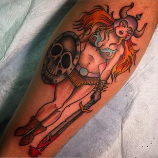 A viking pinup by Sheila Marcello (IG—sheilamarcello). #pinup #SheilaMarcello #traditional #viking