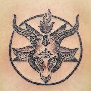 A tiny blackwork SIgil of Baphomet by Sarah Terry (IG—guerilla_needles). #Baphomet #blackwork #SarahTerry #Satanism #SigilofBaphomet
