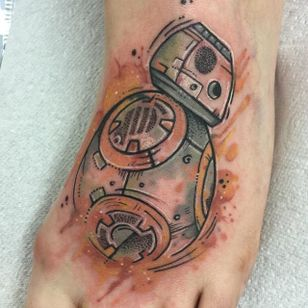 Watercolor BB8 tattoo by Clare Lambert. #watercolor #ClareLambert #StarWars #BB8