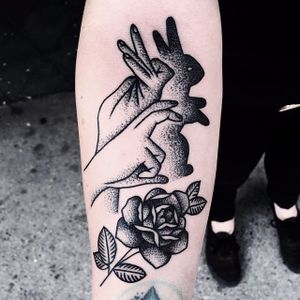 Bunny blackwork tattoo by Mike Adams. #bunny #rabbit #cute #blackwork #dotwork #MikeAdams #bunnytattoo