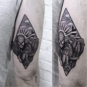 Blackwork spiderman tattoo by Burpi Brebzy #spidermantattoo #BurpiBrebzy #geektattoos #blackwork