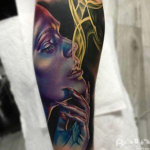 Purple lady. (via IG - boloarttattoo) #realism #portrait #ladyhead #bolo