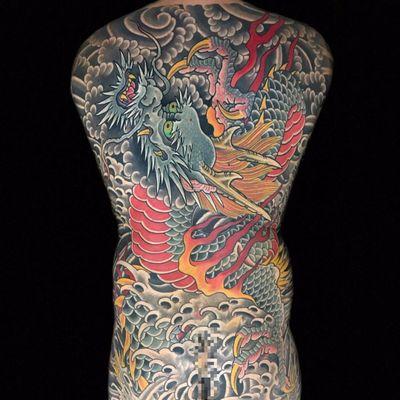 Dragon Bodysuit by Henning Jorgensen #HenningJorgensen #color #Japanese #clouds #waves #dragon #fire #scales #fangs #horns #folklore #magic #fantasy #bodysuit #backpiece #tattoooftheday