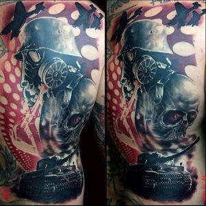 Trash polka inspired tattoo by Zsolt Kelemen #tank #tanktattoo #ZsoltKelemen #realistic #trashpolka #skull #redink #gasmask