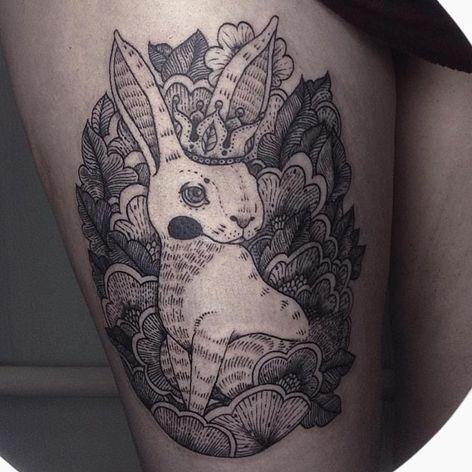 Rabbit tattoo by Maria Velik #MariaVelik #illustrative #linework #rabbit