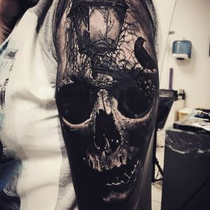 Gothic, by Sandry Riffard. (via IG—audeladureeltattoobysandry) #SandryRiffard #Skulls #Realism #Metal