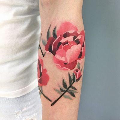 Peony by Sasha Unisex #SashaUnisex #watercolor #peony #floral #flower #tattoooftheday