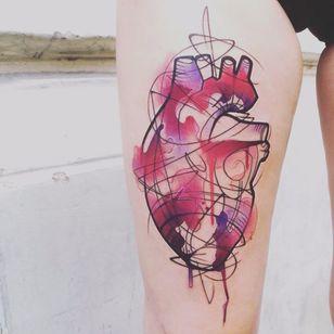 Por Dynoz #DynozArtAttack #gringo #abstract #abstract #colorido #colorful #aquarela #watercolor #coração #heart #coraçãoanatomico #anatomicalheart