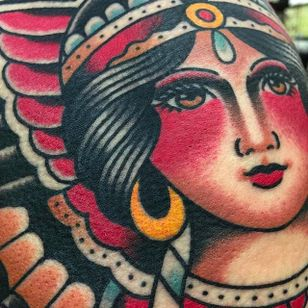 Gypsy girl up close traditional tattoo by @jacobdoneytattoo #jacobdoneytattoo #traditional #traditionaltattoo #envisiontattoostudio #gypsy #girl #lady