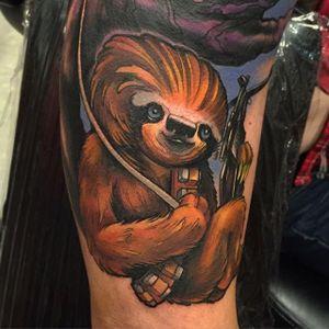 Chewbacca Sloth Tattoo by Eddie Stacey #sloth #slothtattoo #slothtattoos #slothdesign #funtattoos #EddieStacey