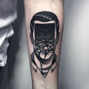Faceless portrait tattoo by Denis Marakhin #maradentattoo #black #blackwork #blackandgrey #oddtattoo #faceless #portrait #denismarakhin #maraden