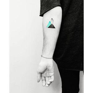 Minimalist mountain tattoo by Vitaly Kazantsev. #VitalyKazantsev #minimalist #geometric #mountain #geometry #minimalism #minimalistic