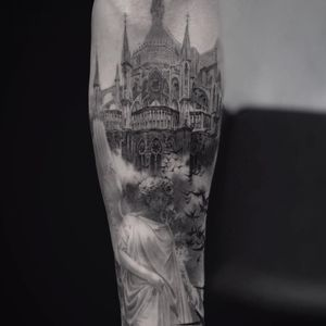 Angel and cathedral tattoo by Cold Gray #ColdGray #blackandgrey #realism #realistic #hyperrealism #building #architecture #angel #sculpture #statue #birds #stainedglass #church #cathedral