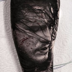 Jon Snow by Stefan Müller #Stefan #StefanMuller #blackandgrey #portrait #realism #realistic #hyperrealism #blood #JonSnow #gameofthrones #kitharington #tvshow #tattoooftheday